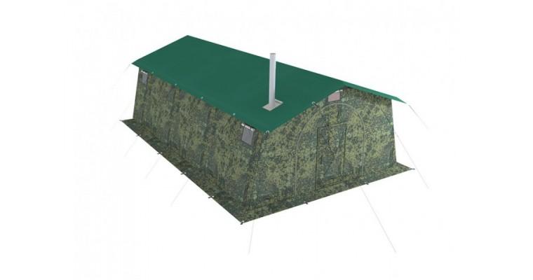 Палатка армейская БЕРЕГ 15М2 двухслойная, с дном на молнии